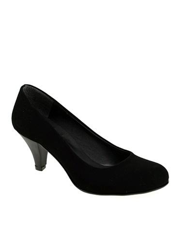 Derigo Siyah Süet Kadın Klasik Topuklu Ayakkabı 251804 Siyah